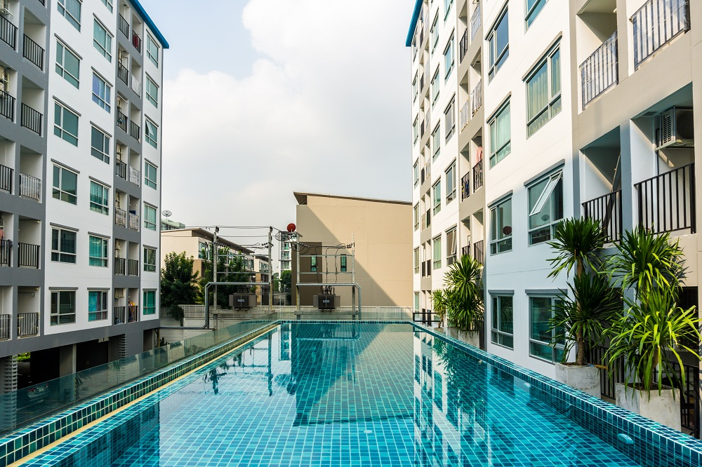 a condominium with a pool