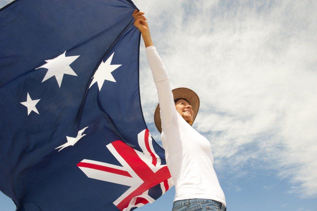 Girl holding australian flag