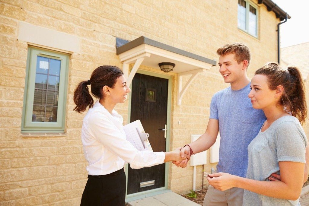 Young couple about to purchase a house